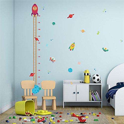 Medidor altura niños Pegatina pared vinilo decorativo cohetes ovnis para cuartos bebes niños juegos guarderias colegios de CHIPYHOME
