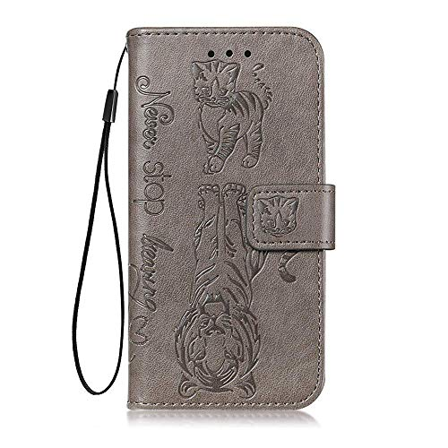 vingarshern Hülle für LG Q Stylus Schutzhülle Klappbares Flip Lederhülle Magnetverschlüsse Schutztasche Etui LG Q Stylus Hülle Leder Brieftasche-(Tiger/Katze-Grau) MEHRWEG
