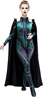 Movie Thor 3 Hela Cosplay Costume Outfits Halloween Jumpsuit with Cape for Women