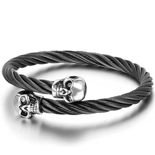JewelryWe Schmuck Herren Armband, Gotik Totenkopf Schädel Twisted Draht Elastisch Einstellbar...