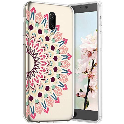 Robinsoni Compatible avec One Plus 6T Coque en Silicone Transparente Motif Mandala Fleur Jolie Housse de téléphone Gel TPU Souple Ultra Mince Crystal Clear Skin Étui Coque pour One Plus 6T,17#