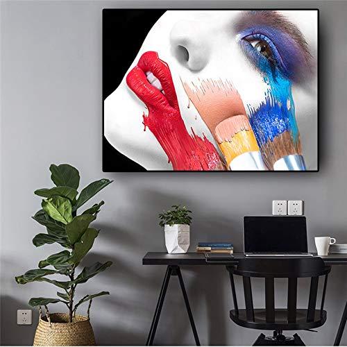 hetingyue Resumen Mujer Figura Moda Encantador Labios Rojos Cartel e impresión Mural Pintura sobre Lienzo en Sala Pintura al óleo 40x60cm