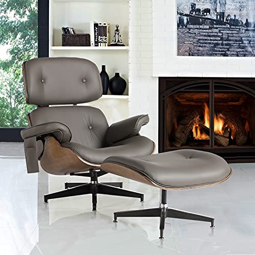 MAGIC UNION Leather Swivel Chair with Ottomans for Living Room Recliner with 4-Point Massage Modern Lounge Ergonomic Chair Reclining Rocking Chair for Office, Bedroom