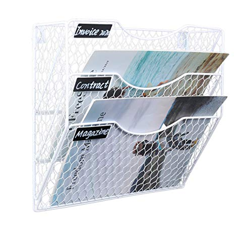 EasyPAG A4 Hängeregal mit 3 Etagen, Drahtgeflecht, für die Wand, für Zeitschriften, Weiß