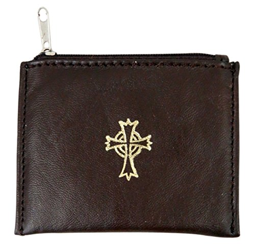 Genuine Leather Lined Rosary Case with Celtic Cross Crucifix, Brown, 3 3/4 Inch