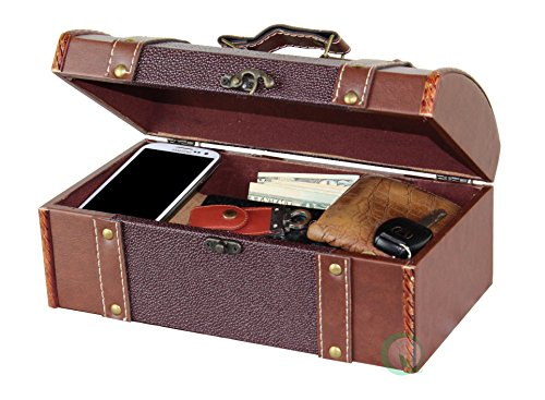 Vintiquewise Dressoir Valet lederen kist met fluwelen voering, hout, bruin, 29.21x16.51x12.7 cm
