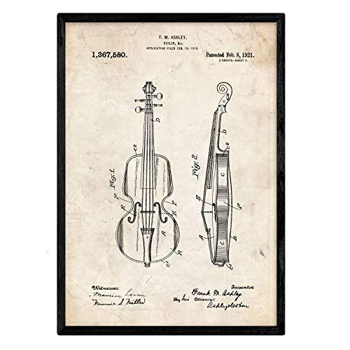 Poster Nacnic patent viool. Blad met oud designoctrooi op A3-formaat en vintage achtergrond