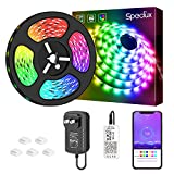 Speclux Rainbow LED Strip Lights 16.4FT / 5M, Smart Color Changing Rope Light 150 LEDs, Waterproof IP65 RGB Light Strips Kit with Bluetooth App Control for TV, Bedroom, Party and Home Decor