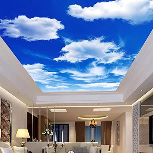 Simple texturizado 3D cielo azul y nubes blancas Techo moderno rollo de papel de pared fotográfico Decoración para el hogar Murales de pared 3D Fondos de pantalla Paisaje 250X180cm
