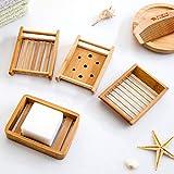 Kaxich 2 Stück Seifenschale Natürlicher Bambus Holz Seifenhalter Seifenkiste Seifenhalterung für Badezimmer Dusche Küche Waschbecken - 2