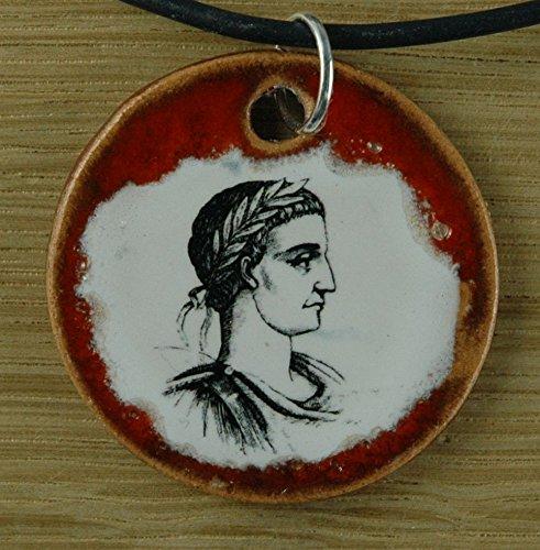 Echtes Kunsthandwerk: Schöner Keramik Anhänger mit Aurelius; Rom, Kaiser, Philosoph, Geschichte Lehrer, Unterricht