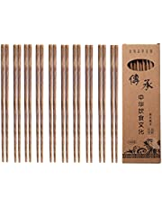 Palillos de madera, picar Stix, 10 pares de palillos chinos reutilizables sin cera, pintura