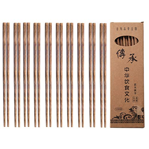 Palillos chinos de madera 10 pares de palillos chinos madera reutilizables sin cera, pintura