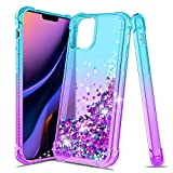 iCoold Case for Apple iPhone 11 pro,[5.8 inch] Four-Corner Glitter Bling Floating Quicksand Silicone Slim Non-Slip Shockproof Bumper Protective TPU Cover for Girls Women (Teal/Purple)