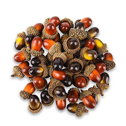 Aipaide 100 Stück künstliche Eicheln, mit natürlicher Eichelhut, für Home Decor, DIY Basteln, Hochzeiten, Feiertags Dekorationen, 2 Farben