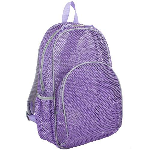 Eastsport Mesh Backpack With Adjustable Padded Shoulder Straps, Lavender with Soft Silver