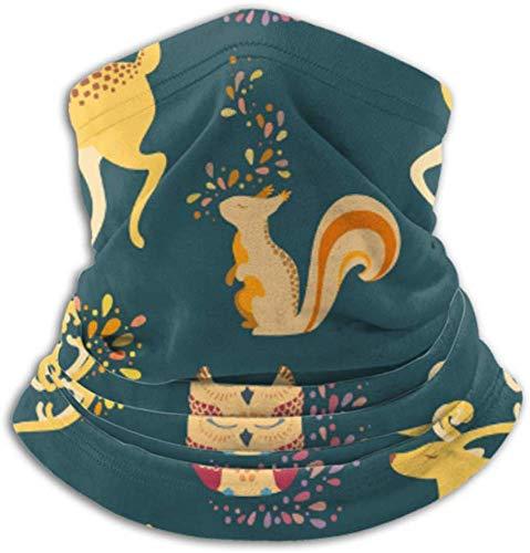 Fleece-Nackenwärmer, multifunktionaler Deer Owl Squirrel Ion-Schal und Vollmaske oder Hut, Nackenschutz, Nackenkappe, Skimaske, Halbmaske, Gesichtsmaske, Balac