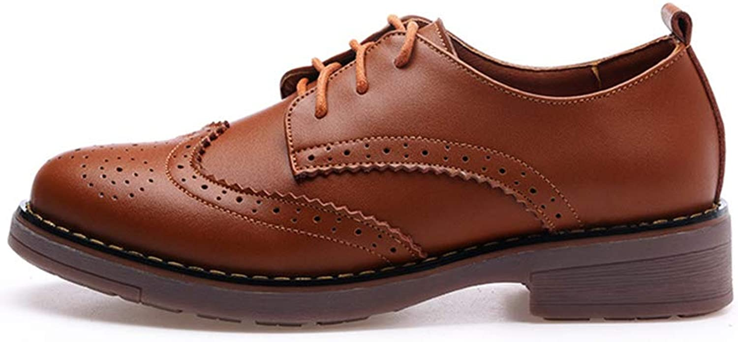 Duberess Women's Real Leather Perforated Lace-up Flat Oxfords Vintage Oxford shoes Brogues