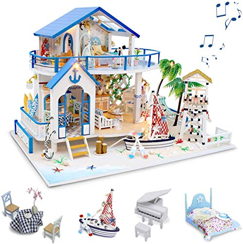GuDoQi DIY Hölzernes Puppenhaus Kit, Miniatur Puppenhaus mit Möbeln und Musik, Handgefertigte Mini Haus Kit, Blue Sea Legende