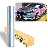 EZAUTOWRAP 4'x8' Sample Premium White Neo Chrome Rainbow Holographic Vinyl Wrap Sticker Decal Air Release