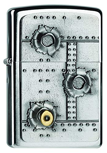 Zippo 2004519 Bullet Holes Feuerzeug, Messing, Edelstahloptik, 1 x 3,5 x 5,5 cm