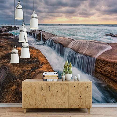 3D vliesbehang fotobehang abstract strand zee waterval wolk natuur 3D muurschildering behang woonkamer slaapkamer muur kunst decor Natuur 300*210 300 x 210 cm.