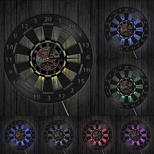 HIDFQY Dartspiel Dartscheibe Wanduhr Spielzimmer Bar Bar Wanddekoration Pfeil Ziel Zielspiel Schallplatte Wanduhr mit LED