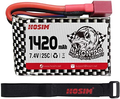 Hosim Batteria ai polimeri di Litio con connettore a T da 7,4 V 1420 mAh 25 C con 1 Fascia per Batteria, Batteria Li-Po con Accessori per Camion ad Alta velocità Brushless Q903 Truggy