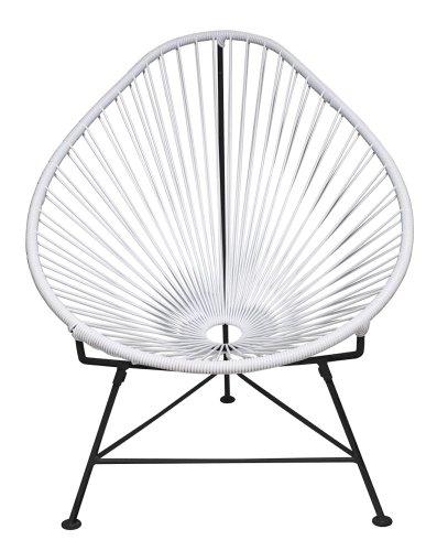 INNIT Baby Acapulco stoel met zwart frame, wit, 22x24x26 cm