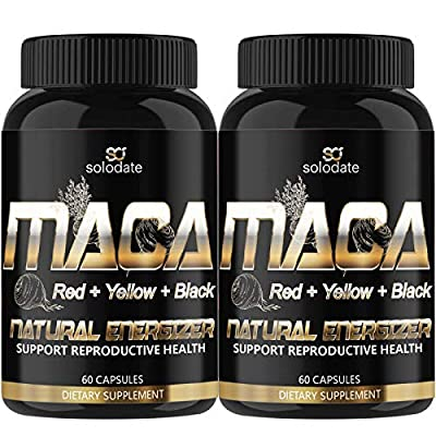 2 Pack Maca Root,Red, Yellow,Black 1900MG,Reproductive Health Supplements for Men and Women,Organic Natural Energizer,60 Capsules