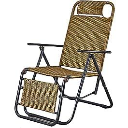 Bias&Belief Portable Pliable Salon Inclinable, Style Chinois Rotin des Places Chaise De Jardin 9 Niveaux Dossier Design…