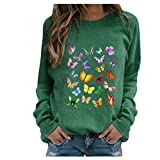 BOIYI Women's Crewneck Long Sleeve Tops T-Shirt Colourful Butterfly Printed Casual Loose Pullover Blouse Solid Colour Jumper(Green,S)