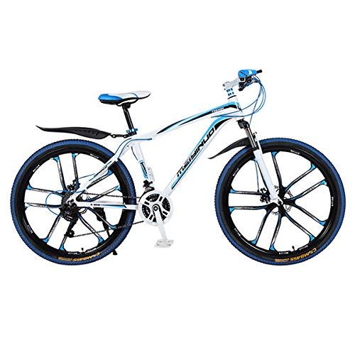 XXXSUNNY Bicicletas de montaña para Hombre de 26 Pulgadas, Bicicletas con Frenos de Disco, Bicicletas de montaña Profesionales ultraligeras Cuadro Fuerte aleación Aluminio,24/White~Blue,Alloy