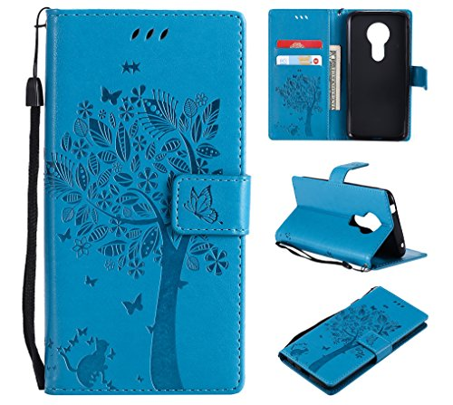 Everainy Kompatibel für Motorola Moto E5 Hülle Silikon PU Leder Flip Gummi Schutzhülle Katze Baum Muster Kartenfach Magnet Brieftasche innen TPU Handyhülle Hüllen (Blau)
