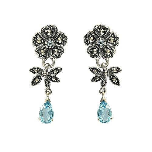 Esse Marcasite Plata de ley topacio azul y Marcasita Art Nouveau Floral lágrima Tornillo Atrás Pendientes