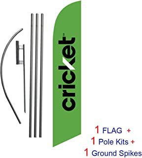 Green Cricket Wireless Advertising Feather Banner Swooper Flag Sign with Flag Pole Kit and Ground Stake