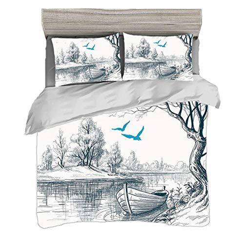 Bettwäscheset King Size (220 x 240 cm) mit 2 Kissenbezügen Lake Decor Mikrofaser-Bettwäsche-Sets Boot auf ruhigem Fluss-Baum-Vogel-Zweig-Skizze,die Clipart-Wasser Minimalistic,weißes graues Blau zeich