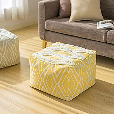 RISEON Boho Hand WovenContemporaryYellow Cotton LinenFabric Pouf Cover Footstool Ottoman Poufs Unstuffed-Square Floor Cushion Footrest Cover for Living Room, Bedroom and Under Desk (Yellow)