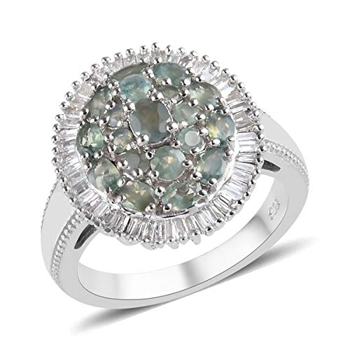 TJC Alexandrite Cluster Ring for Women Platinum Plated 925 Sterling Silver White Diamond Size N, 2.1 Ct