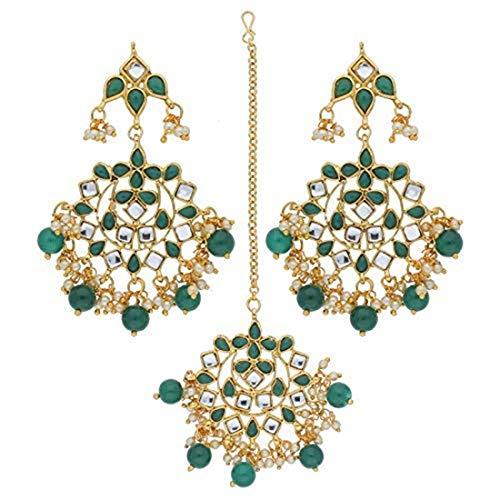 Aheli Elegant Indian Traditional Wedding Kundan Pearl Maang Tikka with Earrings Set for Women Ethnic Bollywood Party Jewellery