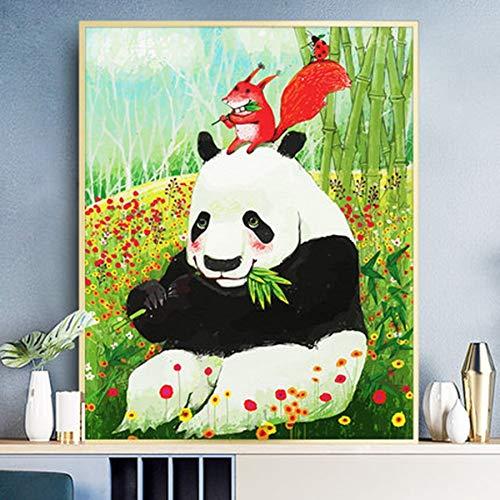 DIY Pintar por números Pintura digital animal panda imagen regalo pintura pintura por número pincel pintura por número con pincel y pintura acrílica para adultos pinturas para40x50cm(Sin marco)