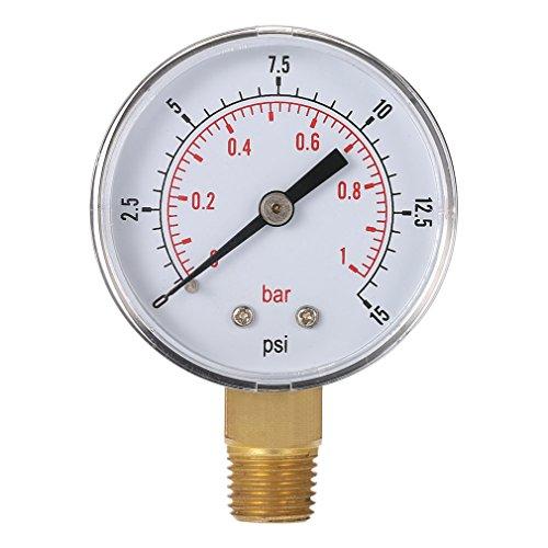 FairytaleMM Mini-manomètre Basse Pression pour Carburant air-mazout ou Eau 50mm 0-15 Bar 0-1 Bar 1/4 Pouce BSPT TS-50 Double échelle (Couleur: Argent et Noir)
