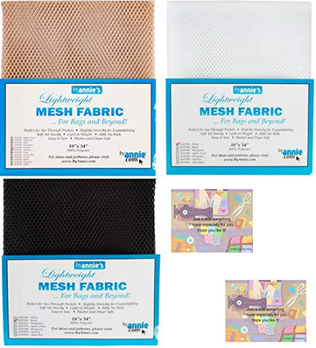 "Annie by Mesh Fabric Lightweight Bundle-Black, Natural, White 18"" x 54"" with 2 Mini Gift Cards-5 Items"