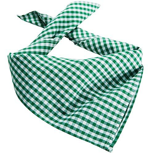 dressforfun 900644 Trachtentuch, kariert,verwendbar als Halstuch, Kopftuch oder Armtuch, für Oktoberfest & Trachten Party - Diverse Farben - (Grün | Nr. 303245)