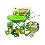 Little Pals Childrens Wheelbarrow & Gardening Tool Set with Watering Can, Gloves, Trowel and Fork, Seeds in Carry Bag