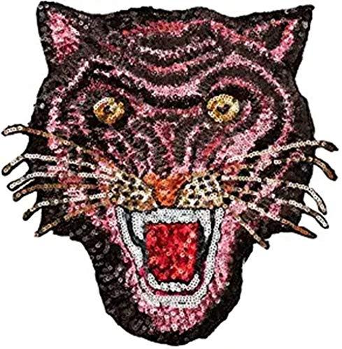 ANNIUP Parches de Lentejuelas de Tigre para Planchar o Coser, Color Rosa
