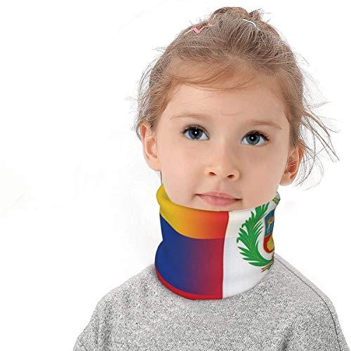 BOTAO Bufanda Multifuncional/pañuelo en la Cabeza Bandera de Colombia y Perú Niños Invierno Fleece Cuello Polaina Calentador Bandanas Bufanda con cordón Fresco