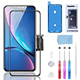 YPLANG for iPhone XR Screen Replacement, LCD Display Touch Screen Digitizer Assembly with Complete Repair Tool Kit, Tempered Glass, Repair Flowchart, Magnetic Screws Map for iPhone XR 6.1 inch