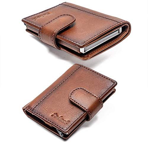 Kartenetui RFID Geldbörse Leder TALED® - Praktisches Slim Wallet Braun - RFID Schutz - Figuretta Kreditkartenetui Herren mit Münzfach- Premium smart Wallet - Bis 12 Karten (Vintage-Brown)