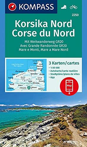 KOMPASS Wanderkarte Korsika Nord, Corse du Nord, Weitwanderweg GR20: 3 Wanderkarten 1:50000 im Set inklusive Karte zur offline Verwendung in der ... (KOMPASS-Wanderkarten, Band 2250)